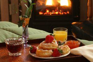 breakfast in front of fireplace