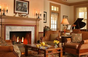 fireplace in parlor of bed and breakfast
